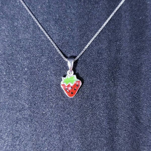 Sterling Silver Small Cute Strawberry Pendant